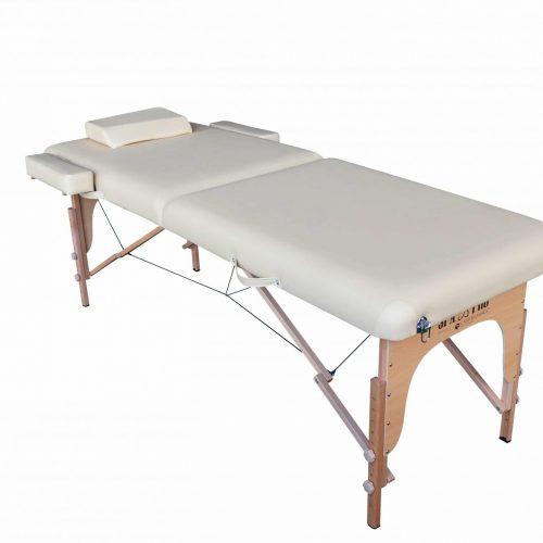 Standard-Massageliege mit 2 Zonen, Crem, klappbar