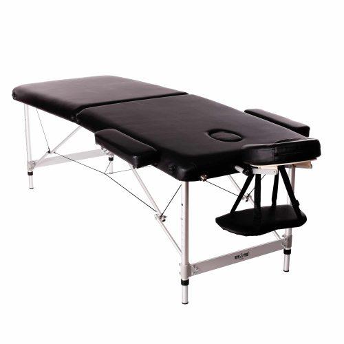 Standard-Massagebett mit 2 Bereiche, Schwarz, Klappbar