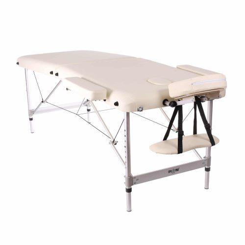 Standard-Massagebett mit 2 Zonen, Cream farbig, abklappbar